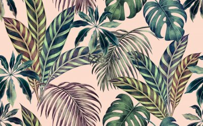 Quadro Watercolor painting colorful tropical leaf,green leave seamless pattern background.Watercolor hand drawn illustration tropical exotic leaf prints for wallpaper,textile Hawaii aloha summer style..
