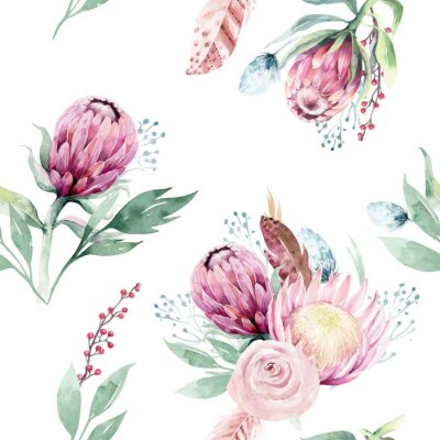Quadro Watercolor protea seamless pattern. tropical leaves background. Textile texture. Hand drawn illustration