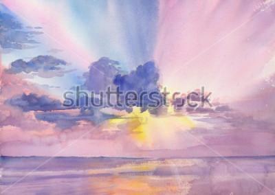 Quadro Watercolor purple clouds in the seaside sky