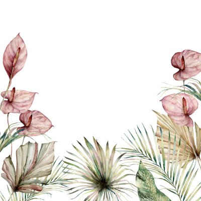 Quadro Watercolor tropic border with anthurium and palm leaves. Hand painted frame with flowers and plant isolated on white background. Floral holiday illustration for design, print, background.
