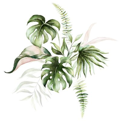 Quadro Watercolor tropical floral bouquet - green & blush leaves. For wedding stationary, greetings, wallpapers, fashion, background.