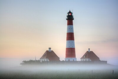 Quadro Westerhever farol na Sunrise fog
