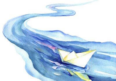 Quadro White paper barco flutuando na água. Pintura da aguarela do rio e do navio em um fundo branco.