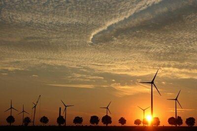 Quadro Windpark im aufbau bei Sonnenuntergang mit Cirrocumuluswolken