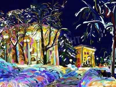 Quadro winter night cityscape digital painting