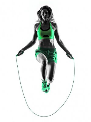 Quadro woman fitness Jumping Rope exercises silhouette