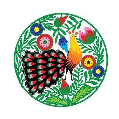 Quadro wzór Ludowy kwiatami z i pawiem, Łowicki