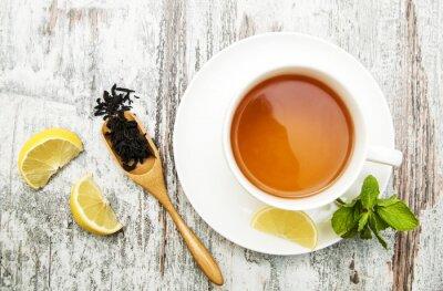 Quadro Xícara de chá com limão e hortelã