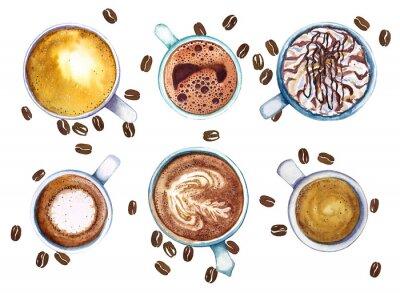 Quadro Xícaras de café da aquarela, isoladas no fundo branco com feijões de café, vista superior.