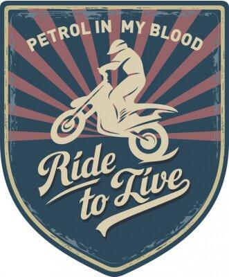 Quadro Мотоциклист, Ездить, чтобы жить, Бензин в моей крови, мотоцикл, Мотокросс, нашивка, иллюстрация