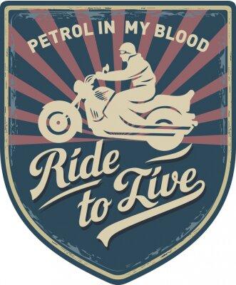 Quadro Мотоциклист, Ездить, чтобы жить, Бензин в моей крови, мотоцикл, Спорт, нашивка, иллюстрация