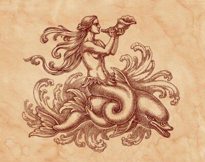 Quadro Морская богиня на дельфине, графика. Рисунок на коричневой бумаге тушью.