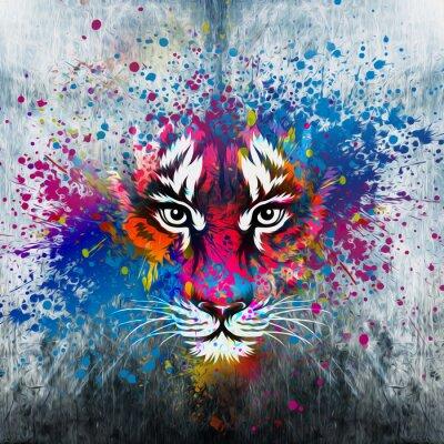 Quadro кляксы на стене.фантазия с тигром