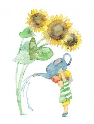 Quadro 向日葵と男 の 子