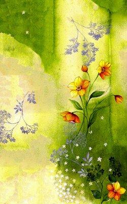 Quadro 수채화배경위에그려진수선화줄기 와싸리꽃