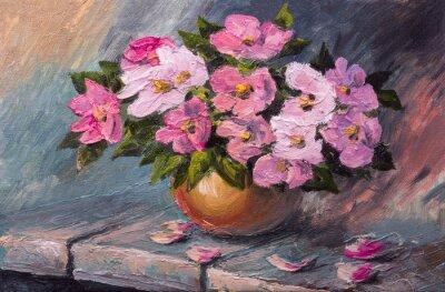 Quadro Óleo, quadro, lona, ainda, vida, flores, tabela