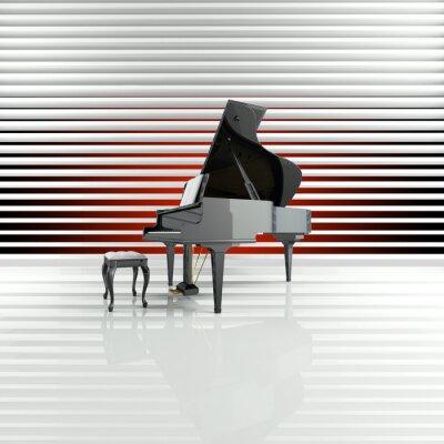 Quadro Piano, piano de cauda, palco, estrela, talento
