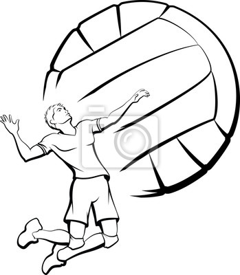 Quadro Young man getting ready to spike a volleyball with a stylized volleyball as a background.