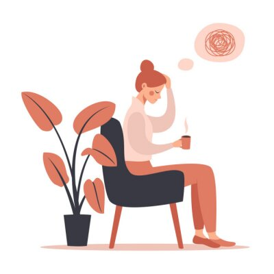 Quadro Young woman with headache drinking hot coffee while sitting in chair. Vector illustration isolated from white background