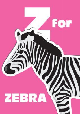 Quadro Z para a zebra, um alfabeto animal para as crianças
